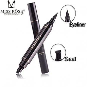 Miss Rose Makeup 2 In 1 Black Liquid Eyeliner Pen & Seal Eyebrow Waterproof Eye Liner Pencil with Stamp