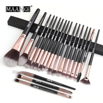 MAANGE 20pcs Makeup Brushes Black Golden Color With Pouch