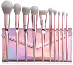 MAANGE 10 Piece Makeup Brush Set Metal Pink With Pouch