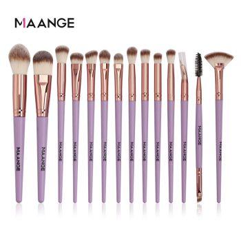 Maange 14pcs Purple Color Eye Makeup Brush set brown golden