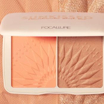 FOCALLURE Bronzer Highlighter Palette Sunkissed Monochromatic DUO Powder Blush Contour Highlighter New