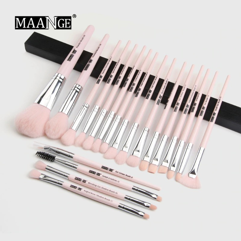 Maange 20 pcs Professional makeup Brush set - pink silver