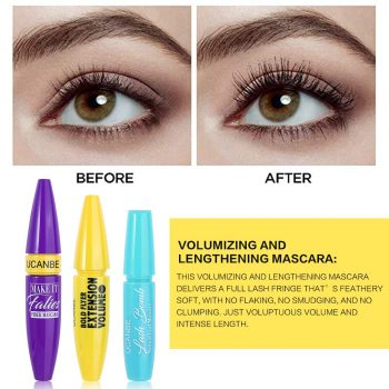 Define Your Eye with Mascara Set: This perfect set creates more visible eyelashes for a glam look. The clump-free formula delivers bigger, thicker & fuller lashes for dramatic volume in one coat.Build the look for even thicker, fanned lashes. Volume and Lengthening Mascara: This volumizing and lengthening mascara delivers a full lash fringe that?s feathery soft,with no flaking,no smudging,and no clumping.Just voluptuous volume and intense length. Waterproof & Long Lasting: This waterproof and long-lasting Mascara formula ensures that your eyelashes stay gorgeously long, thick and voluminous all day through rain, tears, and sweat.Say bonjour to length, thickness and volume that last all day! Easy To Remove: The smooth and creamy mascara sweeps across all lashes without clumping, flaking, or drying out. Simply remove at the end of your day with warm water or your favorite makeup remover. Perfect Gift Set: Thick Mascara,Lengthening Volume Mascara,Natural Mascara,3 in 1 set,4D Plus Perfect Lash Combination contains gentle ingredients that are safe and friendly for sensitive eyes and contact lens wearers.The perfect gift for girls.