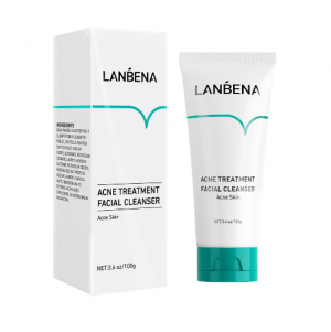 LANBENA ACNE TREATMENT FACIAL CLEANSER ANTI-ACNE FACE WASH WITH OIL-FREE FORMULA FOR CLEAN PORES FOR OILY, DRY & ACNE-PRONE SKIN (3.38 FL OZ / 100 ML)