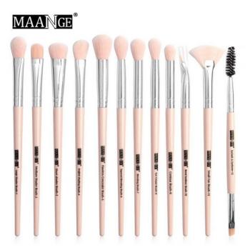 Maange 12 pcs Professional makeup Brush set - pink silver