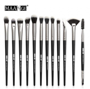 Maange 12 pcs Professional makeup Brush set black silver