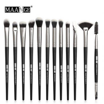 Maange 12 pcs Professional makeup Brush set black silver