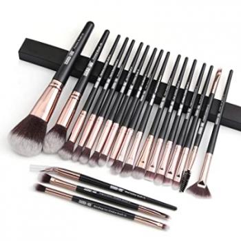 Maange 20 pcs Professional makeup Brush set - black golden