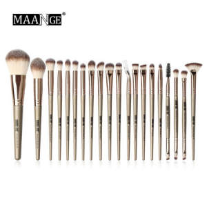 Maange 20 pcs Professional makeup Brush set - bronze Golden