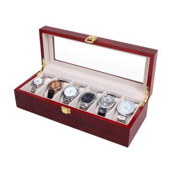 6 Slots Wood Watch Display Case Box