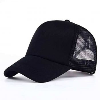 Black Foam Half Net Curved Cap For Men For Men