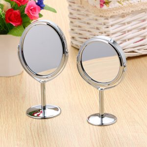 Makeup Mirror Double Sided magnifying and normal metallic frame Round Portable Shaped Magnifying Cosmetic Smart Table Makeup Desktop Mirror